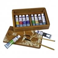 Набор масляных красок Fine Huile Lefranc&Bourgeois, 10 туб*20 мл и 2 кисти в бамбуковом ящике
