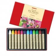 Набор профессиональной масляной водорастворимой пастели MUNGYO Aquarelle Oil Pastel (Extra Soft Water Soluble), 12 цветов