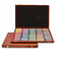 Пастель сухая полутвердая профессиональная Semi-Hard Pastels Gallery Artists MUNGYO, 120 цветов, квадратная, в деревянной шкатулке