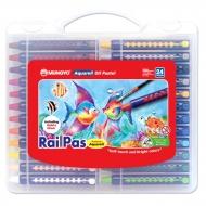 Набор масляной пастели с эффектом акварели Mungyo RailPas-Aquarell Oil Pastel 24 цв., в пластиковом чемоданчике