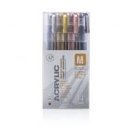 Набор акриловых маркеров Montana Acrylic extra fine 0,7мм METALLIC цвета металлик 4 шт