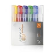 Набор акриловых маркеров Montana Acrylic fine 2мм Основные цвета A 12 шт