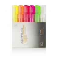 Набор акриловых маркеров Montana Acrylic FLUOR fine 2mm Флуоресцентные цвета 6 шт