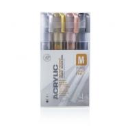 Набор акриловых маркеров Montana Acrylic fine 2mm METALLIC цвета металлик 4 шт