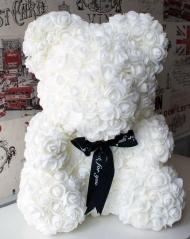 Мишка из роз, белый в коробке, 25 см