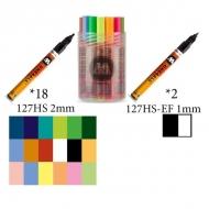 Набор художественных акриловых маркеров ONE4ALL 127 Molotow, 20 цветов, нак. 1 и 2 мм
