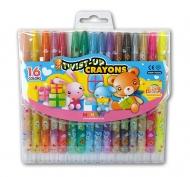 Восковые мелки для рисования детские MUNGYO с выдвижным стержнем 16 цветов
