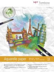 Альбом для акварели Tombow Watercolour Hot pressed 300г/кв.м, 24х32 см, 15л, кремово-белая бумага