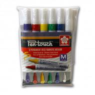 Набор перманентных маркеров Sakura Pen-Touch 6шт для любых поверхностей, 2 мм