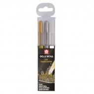 Набор гелевых ручек Gelly Roll Sakura, цвета: золото, серебро, белый
