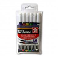 Набор перманентных маркеров Sakura Pen-Touch 6шт. для любых поверхностей, 1 мм