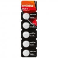 Батарейка SmartBuy CR2016 литиевая, BC5 (5шт. упаковка)