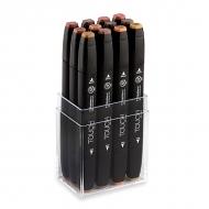 Набор маркеров для скетчинга Touch Twin ShinHanart, 12 цветов, древесные тона
