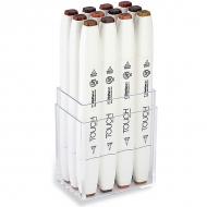 Набор двусторонних маркеров с кистью Touch Brush ShinHanart, 12 цветов, древесные тона
