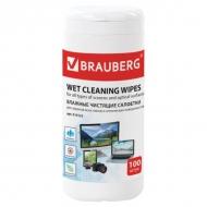Чистящие салфетки Brauberg для экранов мониторов и оптических поверхностей, в тубе, 100 шт