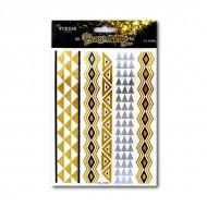 Временные флэш-татуировки TUKZAR 1006 «Геометрия», 5 в 1, золото, обсидиан, серебро