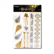 Временные флэш-татуировки TUKZAR 1011 «Фэнтези»,  12 в 1, цвета золото и серебро