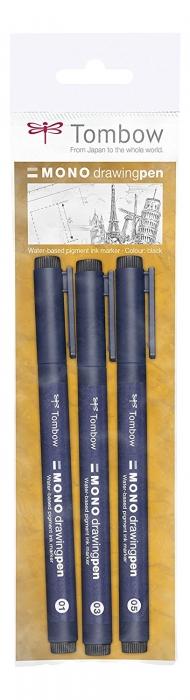 Набор линеров Tombow MONO drawing pen, 3 шт., ширина линии 01 + 03 + 05, цвет черный