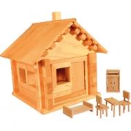 Конструктор из дерева «Избушка теремок с мебелью»
