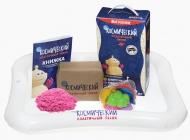 Набор Космический пластичный песок 2 кг (розовый) + песочница + формочки