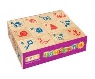 Деревянная развивающая игра Пелси кубики «Алфавит» (12 штук)