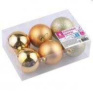 Шары елочные Золотая Сказка, набор 6 штук, пластик, 6 см, золотой (глянец, матовый, глиттер)