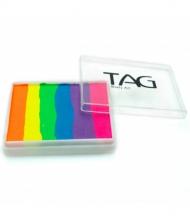 Профессиональный гипоаллергенный аквагрим Сплит-кейк TAG «Радуга-неон», 50г, 6 цветов