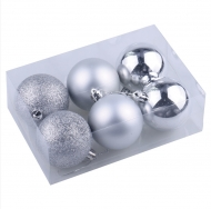 Шары елочные Золотая Сказка, набор 6 штук, пластик, 6 см, серебро (глянец, матовый, глиттер)