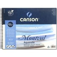 Альбом для акварели Canson Montval 300г/кв.м (целлюлоза) 24*32см 12листов Фин спираль по короткой стороне