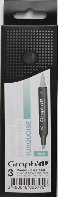 Набор маркеров Graph-It 3 штуки Fresh (оттенки зелено-голубого) в пластиковой упаковке