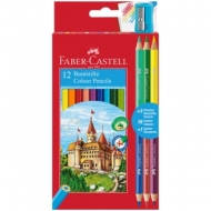 """Карандаши Faber-Castell """"Замок"""", 18цв., 12+3шт., заточен., картон, европодвес, с точилкой"""