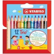 """Карандаши Stabilo """"Trio"""", 12 цветов, трехгранные, утолщенные"""