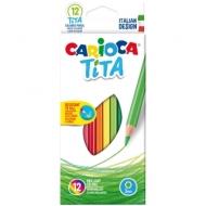 """Карандаши пластиковые Carioca """"Tita"""", 12цв., заточен., картон, европодвес"""