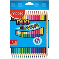 """Карандаши двусторонние Maped """"Color Peps"""", 36цв., 18шт., трехгран., заточен., картон, европодвес"""