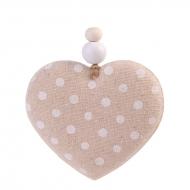 """Елочное украшение из ткани """"Сердце с белыми кружочками"""", 8,5х8х1,5 см"""