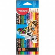 """Карандаши Maped """"Color Peps Animals"""", 12цв., трехгран., заточен., картон, европодвес"""