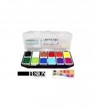 Набор профессиональных красок для аквагрима Регулярные цвета FUSION, 12 цветов, кисть