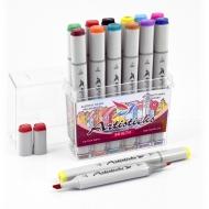 Набор художественных маркеров для скетчинга  Artisticks Style BRIGHT, 12 цветов, 2-сторонние, 1-6 мм
