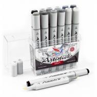 Набор художественных маркеров для скетчинга  Artisticks Style GREY, 12 серых цветов, 2-сторонние, 1-6 мм