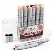 Набор художественных маркеров для скетчинга Artisticks Style SKIN, 12 цветов, 2-сторонние, 1-6 мм