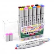 Набор спиртовых маркеров для рисования Artisticks Style SUMMER, 12 цветов, 2-сторонние, 1-6 мм