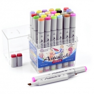 Набор спиртовых маркеров для рисования Artisticks FASHION, 24 цвета, 2-сторонние, 1-6 мм