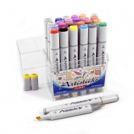 Набор спиртовых маркеров для рисования Artisticks STUDENT, 24 цвета, 2-сторонние, 1-6 мм