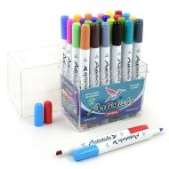 Набор художественных маркеров на водной основе Artisticks AQUA 201 Box, 24 цвета, двусторонние, 1-6мм