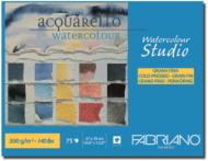 Альбом для акварели Fabriano Watercolour Studio 300г/кв.м (25%хлопок) 27x35см Фин 75л склейка по 1 стороне