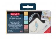 Набор акварельных красок Metallic Derwent 12 кювет + кисть в пластиковой упаковке