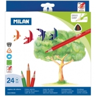 "Карандаши Milan ""231"", 24цв., трехгран., заточен., картон, европодвес"