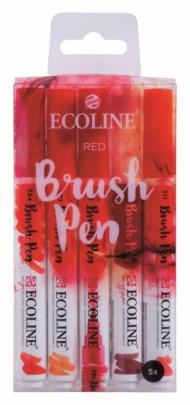 Набор акварельных маркеров Royal Talens Ecoline Brush Pen Красные 5 штук в пластиковой упаковке