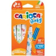 """Фломастеры Carioca """"Baby"""", 6 цветов, утолщенные, смываемые, картон, европодвес"""