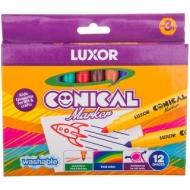 """Фломастеры Luxor """"Conical"""", 12цв., смываемые, картон, европодвес"""